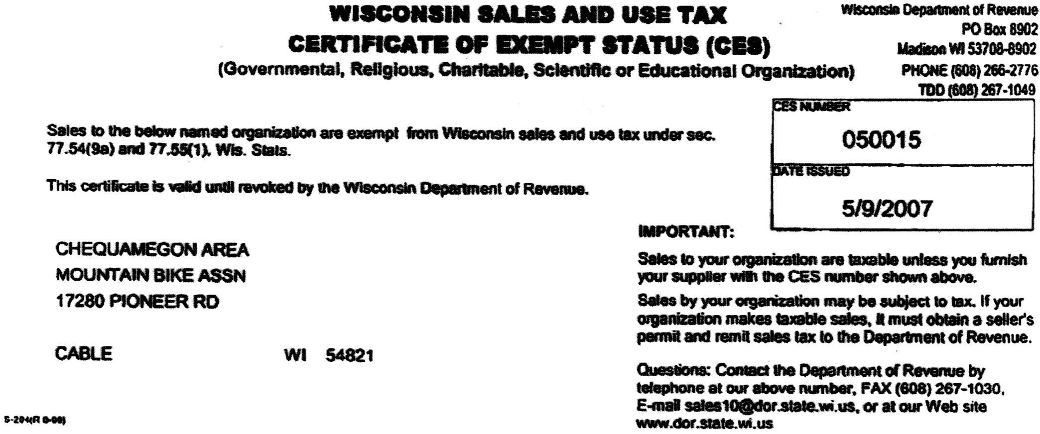 Tax Exempt Info – Tax Exemption Form